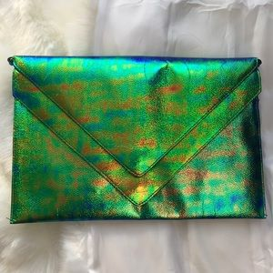 H&M Green/Blue Metallic Clutch Crossbody Bag